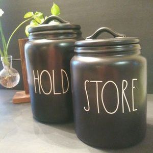 Rae Dunn Farmhouse black collection Canisters